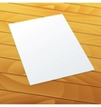 Blankempty A4 office paper on a wood background vector image vector image