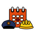 builder helmet with calendar and police cap vector image