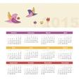 Calendar 2015 year with birds vector image