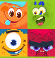 cartoon monster faces scary carnival alien vector image