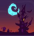 cartoon scary haunted house halloween vector image