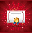 certificate template award diploma medal ribbon vector image