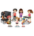 Children playing instruments and sing vector image vector image