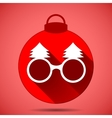Christmas icon with the silhouette festive glasses vector image