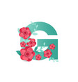 color letter g with beautiful flowers vector image vector image