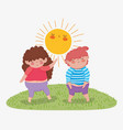 girl and boy friend enjoying with sun kawaii vector image