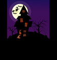 halloween vertical background with witch bats vector image vector image