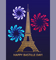 happy bastille day eiffel tower fireworks vector image vector image