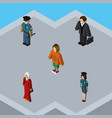 isometric human set of officer lady policewoman vector image vector image
