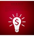 Light bulb with dollar symbol business icon on red vector image vector image