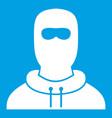 Man in balaclava icon white vector image