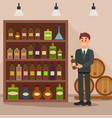 man standing near shelf with alcoholic beverages vector image vector image