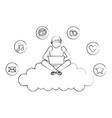 man using laptop sitting on cloud computing social vector image