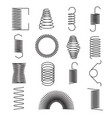 metal spring icons flexible spiral lines steel vector image