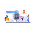 mix race people communicating voice messages vector image vector image