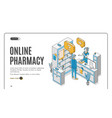 online pharmacy isometric web banner healthcare vector image vector image