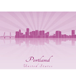 Portland skyline in purple radiant orchid vector image vector image