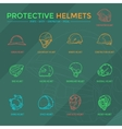 Protective Helmets Icons vector image