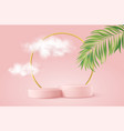 realistic pink product podium with golden round vector image vector image