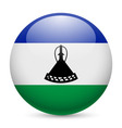 Round glossy icon of lesotho vector image vector image