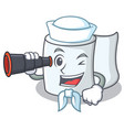 sailor with binocular tissue character cartoon vector image vector image