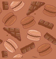seamless pattern with chocolate macaroons vector image