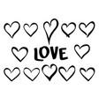 set of hand drawn black hearts vector image vector image