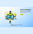 startup business concept with icon and character vector image vector image