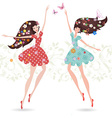 Two girls with flowers on her head vector image vector image