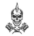 vintage monochrome tattoo master skull vector image vector image