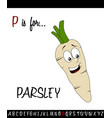 vocabulary worksheet card with cartoon parsley vector image vector image