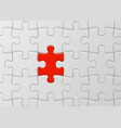 white jigsaw puzzle with unique red piece one of vector image vector image