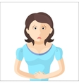 Woman have an abdominal pain Character in Flat vector image