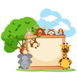 wooden frame with wild animals in background vector image vector image
