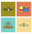 assembly flat icons nature logo penguin snake vector image vector image