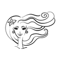beautiful girl linear silhouette vector image vector image
