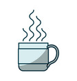 blue shading silhouette of hot coffee cup vector image vector image