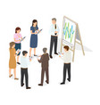 business people with tablet write changes on paper vector image vector image