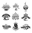 cafe or coffeeshop icons of coffee cups and beans vector image vector image