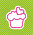 Card with a cream cake with pink heart shape vector image vector image