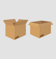 cardboard open box side view package design vector image vector image
