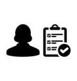 checklist icon female person profile avatar symbol vector image