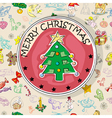 Christmas tree card pattern vector image vector image