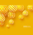 christmas yellow balls with geometric pattern 3d vector image vector image