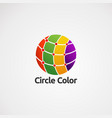 circle color with red dot logo concept icon vector image vector image