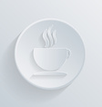 circle icon with a shadow Cup of hot drink vector image