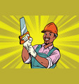 construction worker with saw vector image vector image
