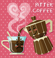 crying coffee cup and Italian coffee maker vector image vector image