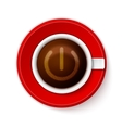 Cup of coffee with Power symbol vector image vector image