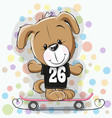 cute cartoon puppy with skateboard vector image